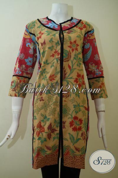 Jual Pakaian Batik Jawa Untuk Cewek Model Terbaru, Busana Batik Model Dress Mewah Berbahan Halus Murah Meriah [DR2449PL-M]