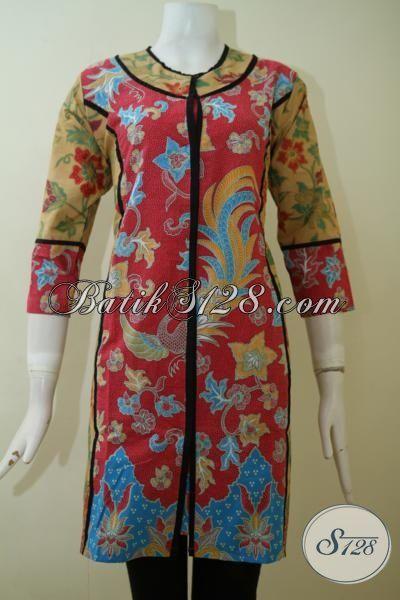 Dress Batik Print Lasem Dengan Desain Mewah Dan Formal, Pakaian Batik Seragam Kerja Wanita Muda Dan Dewasa Tampil Elegan [DR2450PL-M]