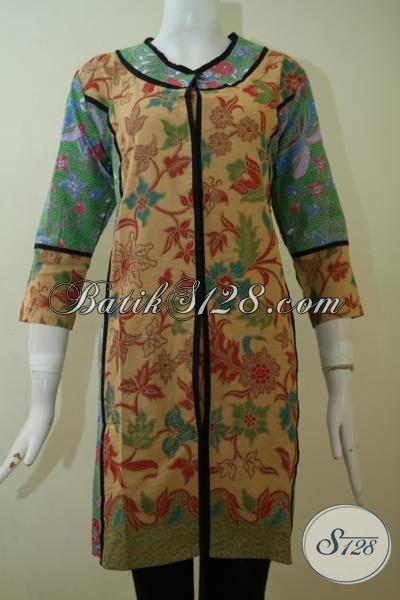Jual Eceran Harga Grosir Busana Batik Wanita Muda Karir Aktif, Dress Batik Print Lasem Motif Klasik Kwalitas Halus [DR2451PL-M]