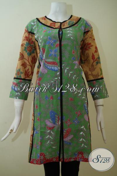 Jual Batik Dress Model Paling Keren, Baju Batik Desain Mewah Harga Bawah, Baju Batik Print Lasem Lebih Halus Dan Adem, Size L