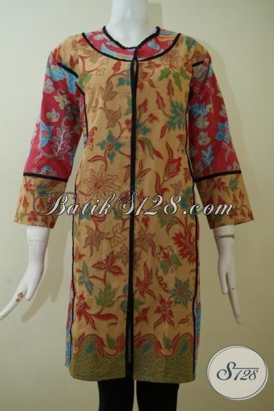 Baju Batik Halus Kombinasi Dua Warna Dan Motif Dress