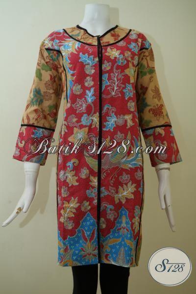 Pakaian Kerja Wanita Muda Masa Kini Yang Selalu Ingin Tampil Istmewa, Baju Batik Dress Desain Mewah Harga Murah [DR2458PL-XL]