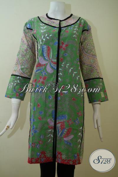 Dress Batik Busana Kerja Wanita Karir Modern, Batik Baju Trendy Dengan Desain Dan Kwalitas Istimewa Dan Harga Yang Terjangkau [DR2460PL-XL]