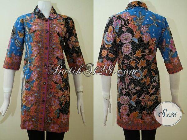 Dress Batik Tiga Warna Desain Istimewa, Baju Batik Print Produk Solo Lebih Halus Lebih Terjangkau, Size S