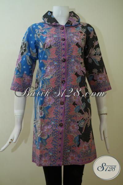 Dress Batik Print Solo Hadir Dengan Kombinasi Tiga Motif Yang Berpadu Warna Mewah Nan Elegan, Pas Buat Acara Resmi Dan Seragam Kerja [DR2463P-M , XL]