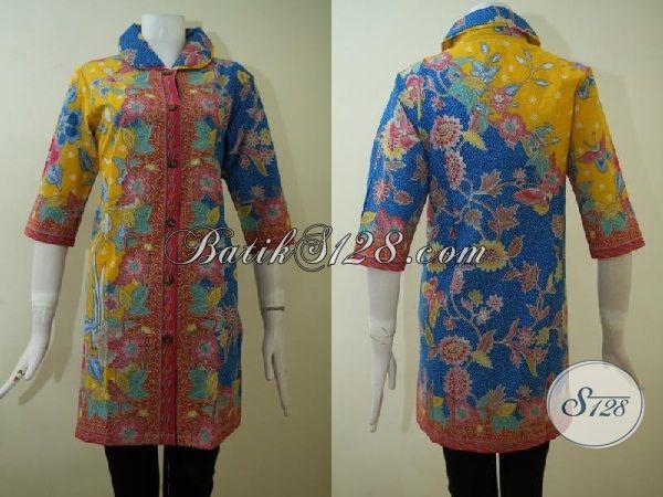 Dress Batik Modern Kombinasi Warna Kuning Merah Dan Biru, Batik Kerja Motif Terkini Untuk Wanita Tampil Elegan Berkelas [DR2464P-XL]
