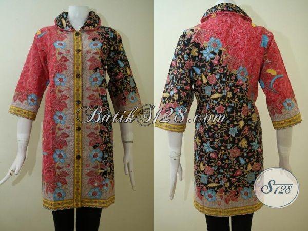 Dress Batik Desain Trendy Dan Mewah Harga Murah, Baju Batik Print Halus Dengan Motif Modern Dan Kombinasi Warna Keren [DR2468P-L]