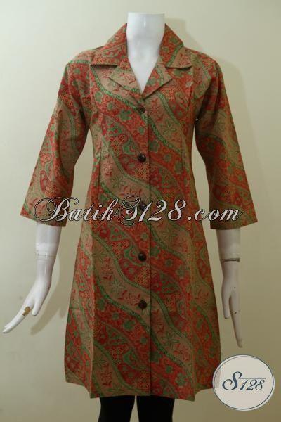 Batik Dress Wanita Muda Masa Kini Tampil Anggun Dan Modis, Pakaian Batik Kerja Perempuan Pekerja Kantoran [DR2513P-M]