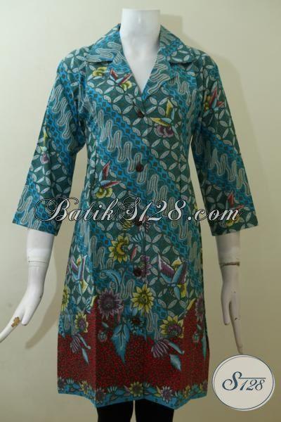 Busana Batik Solo Motif Modern Keren Dan Mewah, Dress Batik Kerja Perempuan Warna Hijau Untuk Tampil Modis Di Kantor [DR2514P-M]
