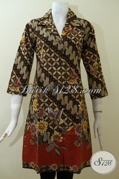 Baju Batik Motif Klasik Desain Modern, Dress Batik Masa Kini Yang Mampu Membuat Wanita Tampil Keren Dan Elegan [DR2515P-M]