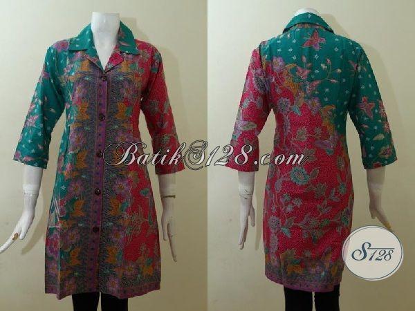 Jual Pakaian Batik Desain Mewah Trend Masa Kini, Baju Batik Dress Paling Keren Kwalitas Halus Harga Murah [DR2520P-M]