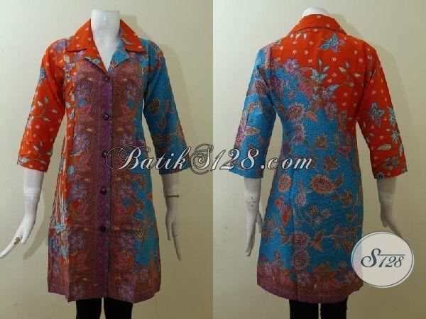 Jual Pakaian Batik Dress Paling Keren Saat Ini, Baju Batik Modern Motif Klasik Dengan Kombinasi Warna Keren Dan Elegan [DR2521P-M]