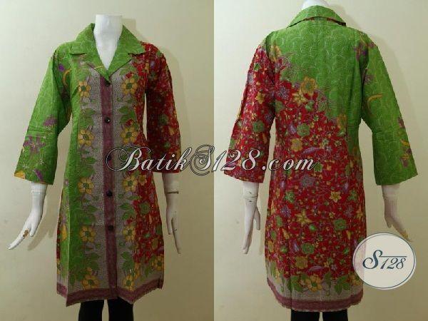 Trend Pakaian Batik Wanita Paling Baru Saat Ini, Dress Batik Modern Desain Mewah Proses Printing Dengan Kombinasi Warna Keren [DR2524P-XL]