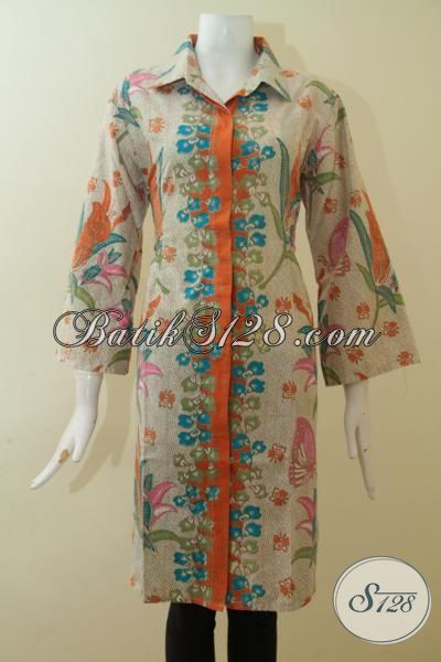 Aneka Batik Dress Terbaru Dengan Desain Keren Dan Mewah Untuk Wanita Tampil Modern,Busana Batik Printing Kwalitas Halus Asli Produk Solo Jawa Tengah [DR2673P-XXL]