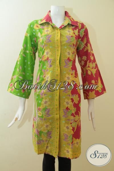 ... Batik Print Wanita Karir Kombinasi Warna Merah Kuning Dan Hijau Murmer
