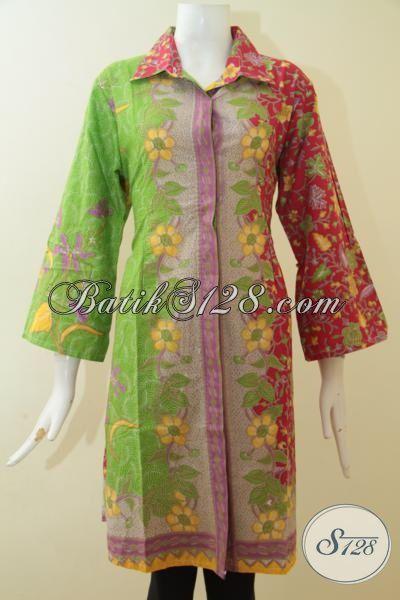 Dress Batik Dua Motif Tiga Warna Trend Busana Wanita Jaman Sekarang, Baju Batik Paling Banyak Di Cari Wanita Muda Untuk Tampil Trendy [DR2677P-XL]