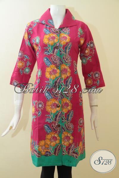 Baju Dress Batik Kerah Lebar Warna Pink Cewek Banget