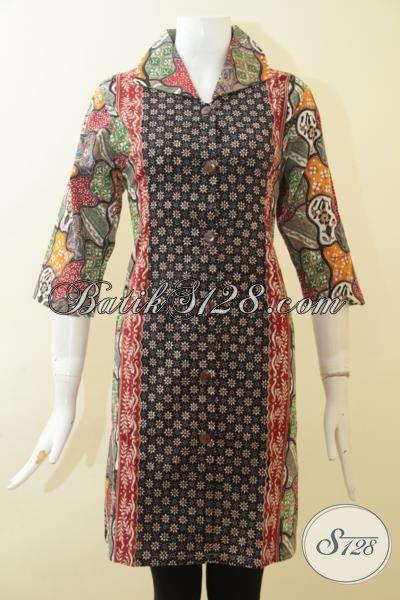 Pakaian Dress Batik Dual Motif Dengan Desain Mewah Dan Modis, Baju Batik Fashionable Yang Pas Buat Pesta Dan Hangouts [DR2686CT-M]
