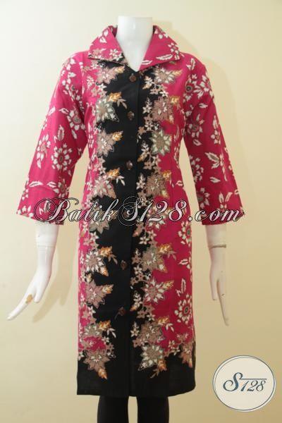 Baju Batik Pink Kombinasi Hitam Motif Keren, Dress Batik Cap Tulis Buatan Solo Halus Kwalitas Premium [DR2690CT-XXL]