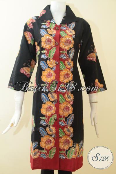 Dress Batik Dasar Hitam Kombinasi Warna Merah Motif Bunga Kuning