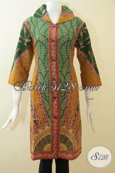 Dress Batik Keren Motif Klasik Tampil Elegan, Busana Batik Panjang Proses Printing Cocok Untuk Karyawati Perbankan [DR2692P-L]