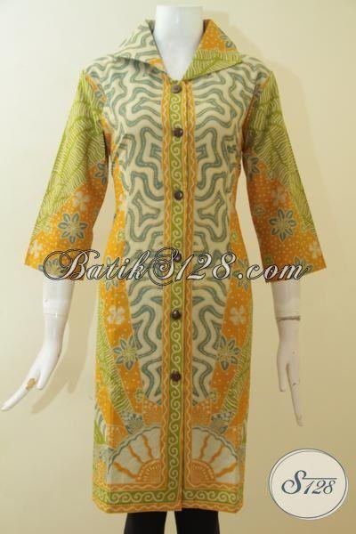 Batik Dress Klasik Warna Cerah Berbahan Halus Dan Adem, Pakaian Batik Printing Tampil Elegan Dengan Harga Terjangkau [DR2694P-L]