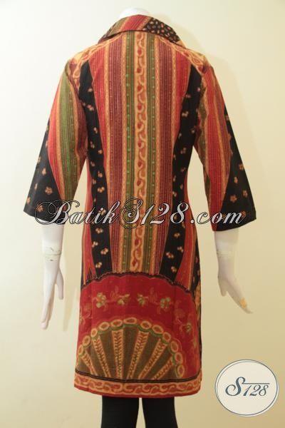 Pakaian Batik Wanita Dewasa Motif Klasik Sentuhan Modern, Dress Batik Premium Proses Kombinasi Tulis Pas Buat Baju Pesta [DR2698BT-L]
