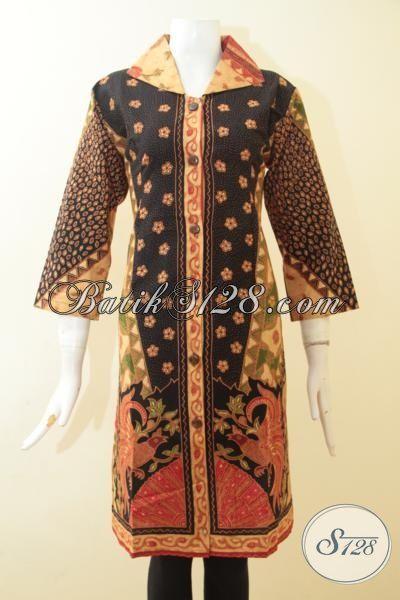 Pakaian Berkelas Tinggi Untuk Perempuan, Batik Dress Klasik Kombinasi Tulis, Cocok Untuk Kerja Tampil Modis, Size XL