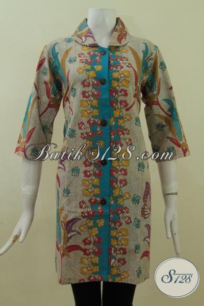 Baju Dress Berkelas Bahan Batik Solo Halus, Baju Kerja Batik Trendy Nan Mewah Proses Print Harga Murah Meriah Size M