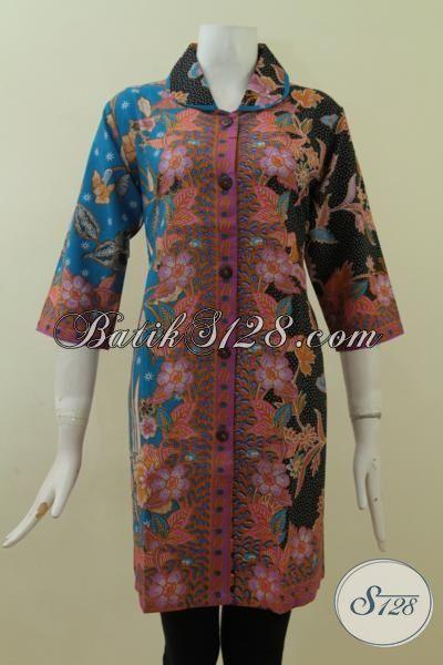 Busana Kerja Batik Model Dress Paling Keren, Pakaian Batik Printing Desain Trendy Dengan Kombinasi Motif Yang Berkelas, Size L