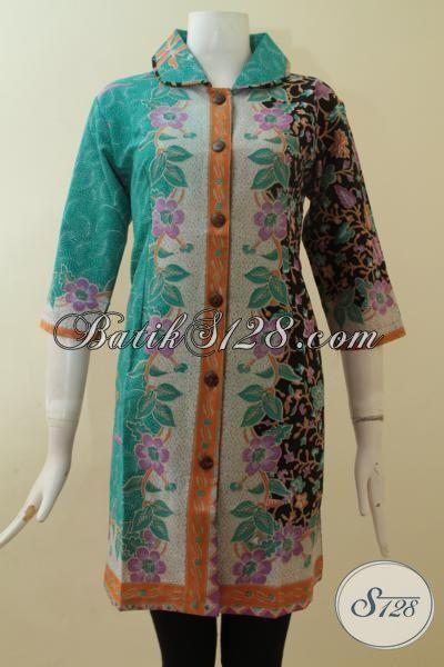 Dress Batik Wanita Elegan Online Lengan 3/4 Warna Hijau Tosca Hitam [DR2858P-XL]