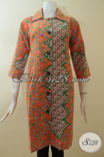 Dress Batik Print Dua Motif Desain Keren Dan Mewah, Baju Batik Wanita Karir Tampil Elegan, Size S