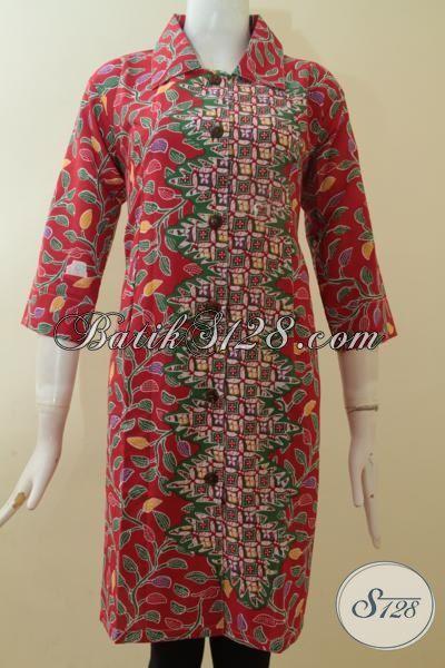 Baju Batik Special, Batik Kerja Khusus Perempuan Karir, Berbahan Halus Desain  Mewah Proses Print, Dress Batik Keren Tampil Beken, Size M