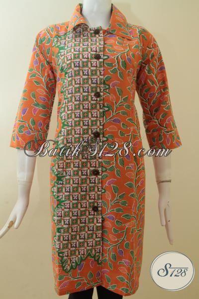 Dress Warna Orange Cantik, Batik Murah Berkualitas [DR2871P-M]