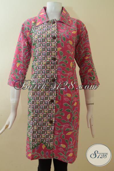 Pakaian Batik Cewek Merah Jambu, Baju Batik Dua Motif Printing, Batik Halus Buatan Solo Desain Special, Size M