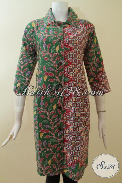 Desain Dress Batik Dua Motif Modern Dengan Kombinasi Warna Yang Elegan, Baju Batik Printing Solo Paling Di Sukai Wanita Karir, Size M