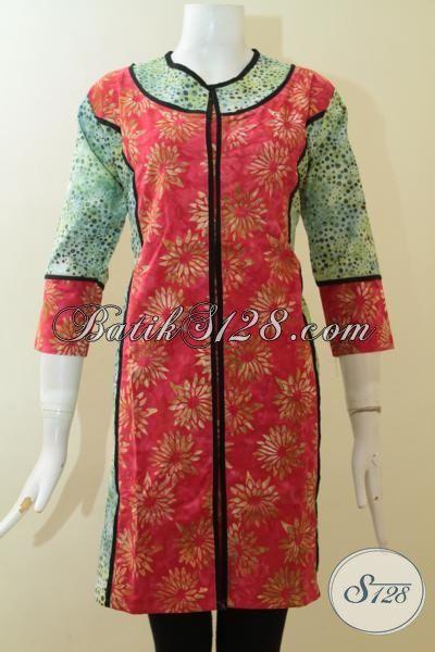 Jual Baju Batik Lengan Tiga Perempat Proses Cap Smoke, Pakaian Dress Batik Kwalitas Premium Dengan Harga Minimum [DR2900CS-S]