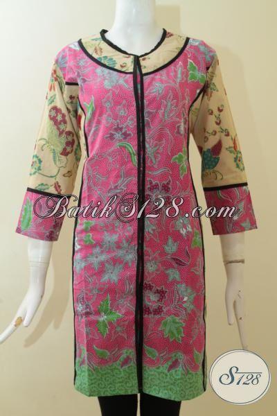 Tampil Keren Berkelas Dengan Dress Batik Motif Masa Kini Dengan Desain Mewah, Baju Batik Lokal Model Internasional, Size M