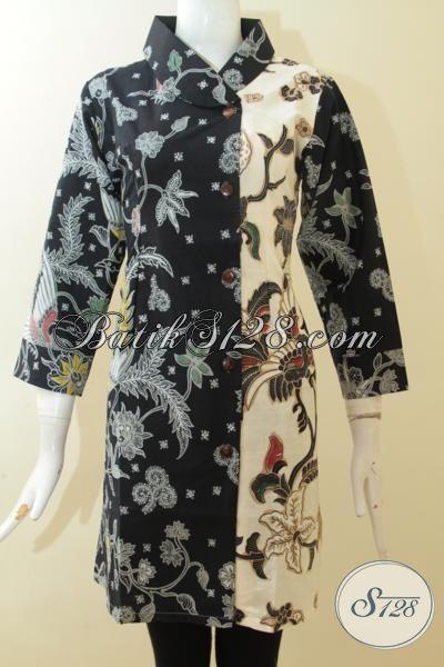 Dress Batik Bagus Dan Istimewa Untuk Kerja Dan Kondangan, Pakaian Batik Masa Kini Desain Mewah Tampil Bergaya Proses Kombinasi Tulis, Size M