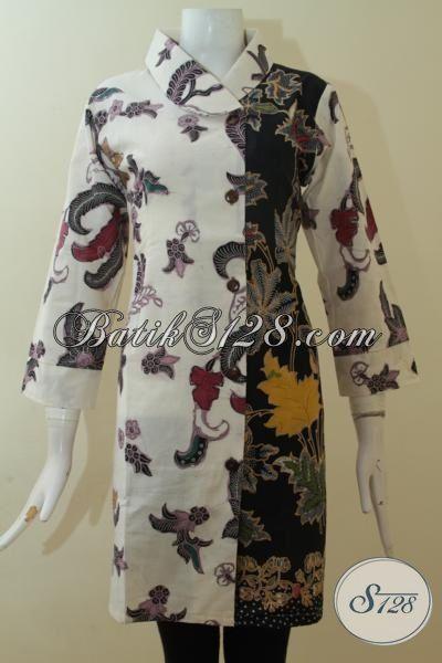 Dress Batik Kombinasi Tulis Dengan Dua Motif Berbeda Baju
