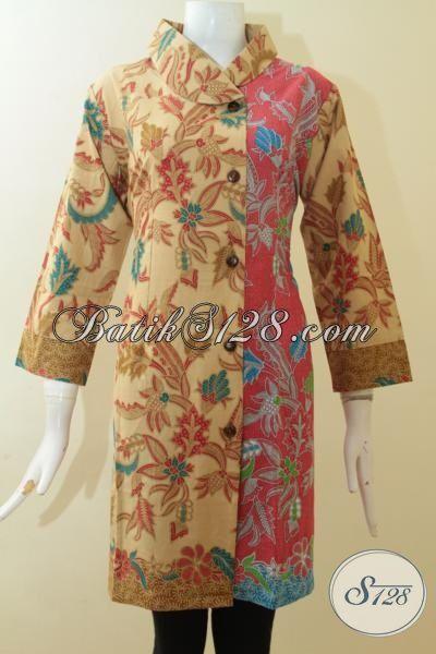 Batik Dress Mewah Dengan Harga Terjangkau Proses Print Lasem, Busana Batik Model Terbaru Dengan Kombinasi Dua Motif Klasik Nan Elegan [DR2924PL-L]