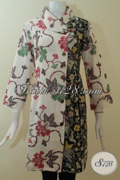 Dress Batik Cream Berpadu Warna Hitam Keren Baju Batik Premium