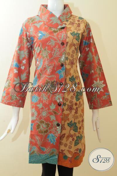 Dress Batik Paling Trendy 2015 Dengan Warna Orange Kombinasi Coklat Muda, Busana Kerja Batik Lengan Tujuh Perdelapan Dengan Desain Mewah [DR2932PL-XL]