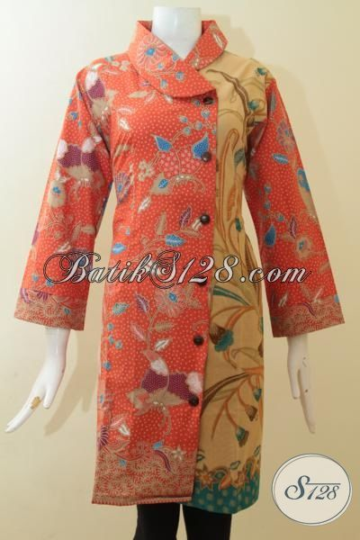 Dress Batik Orange Kombinasi Coklat, Baju Batik Wanita Dual Motif, Desain Mewah Berkelas Wanita Gemuk Bisa Tampil Anggun, Size XXL