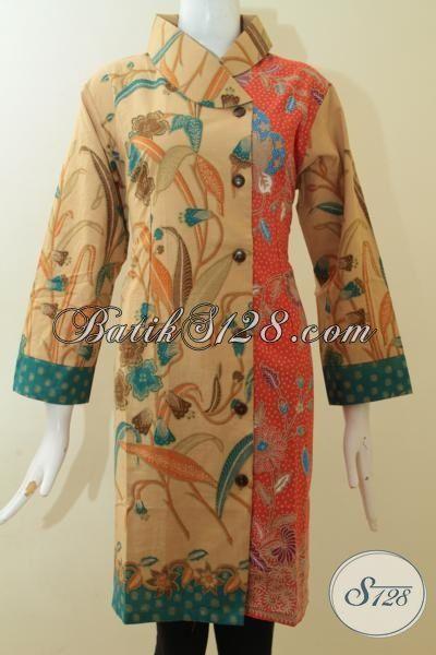 Jual Baju Dress Batik Solo Size Jumbo Kwalitas Halus Harga Terjangkau, Baju Batik Print Lasem Motif Bagus Warna Keren Pas Buat Wanita Berbadan Gemuk [DR2936PL-XXL]