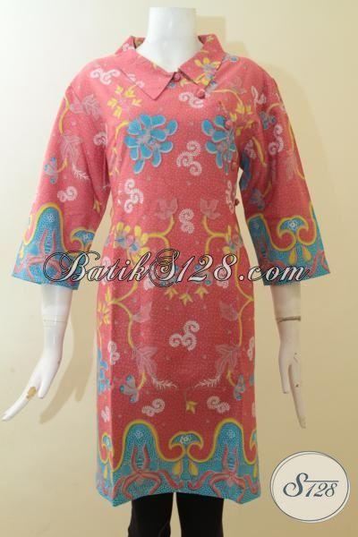 Dress Batik Merah Jambu Lengan Tiga Perempat Proses Print, Pakaian Batik Murah Model Mewah Tampil Wah [DR2945P-L]