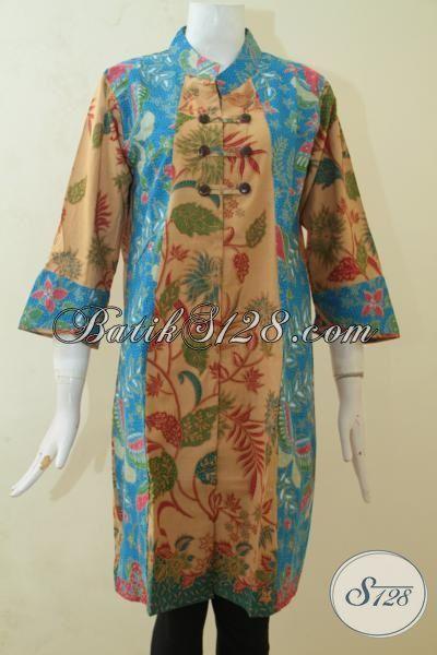 Dress Batik Model Mewah, Baju Batik Dual Motif Proses Printing Lebih Elegan Dan Mewah Exclusive Wanita Karir, Size L