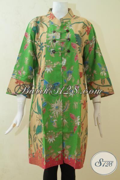 Baju Dress Batik Penunjang Penampilan Wanita Semakin Feminim, Batik Dress Keren Proses Print Bebahan Halus Harga Murah [DR3174PL-XL]