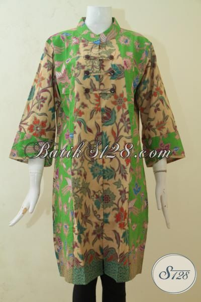 Jual Dress Batik Fashion Untuk Bergaya, Baju Batik Solo Print Kwalitas Halus Dengan Desain Bagus Trend Mode 2015 [DR3175PL-XL]