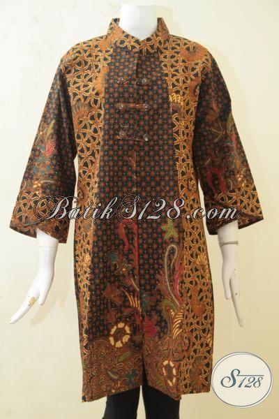 Baju Batik Dress Kombinasi Tulis Motif Klasik Trend 2015, Batik Elegan Kwalitas Premium Desain Baju Kerja Masa Kini [DR3251BT-XL]